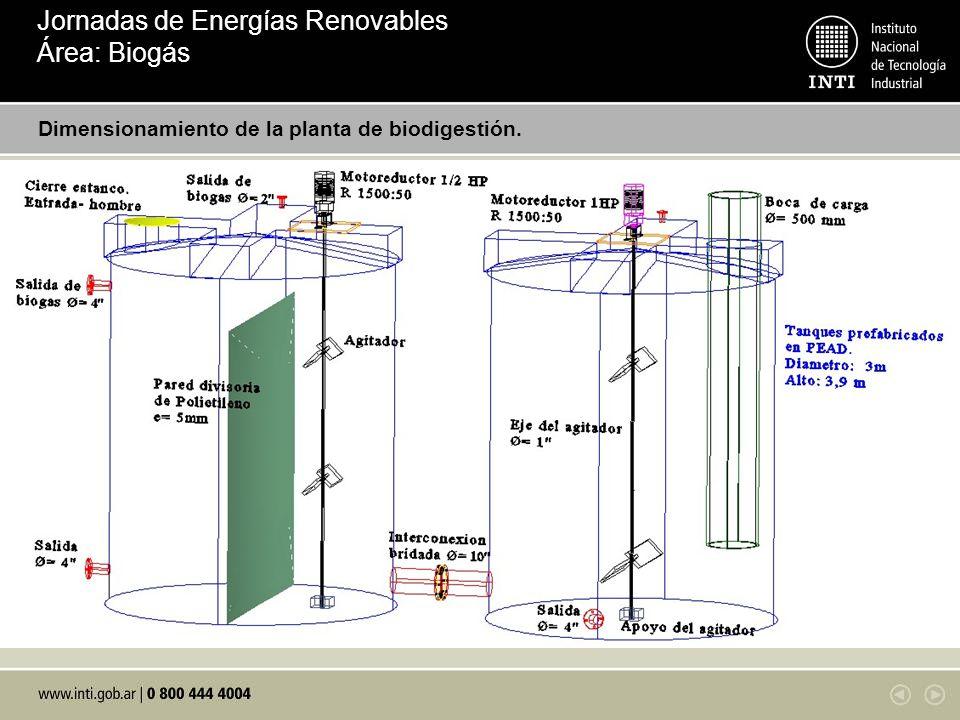 Dimensionamiento de la planta de biodigestión. Introduzca aquí abajo un grafico en formato digital del diseño de planta Jornadas de Energías Renovable