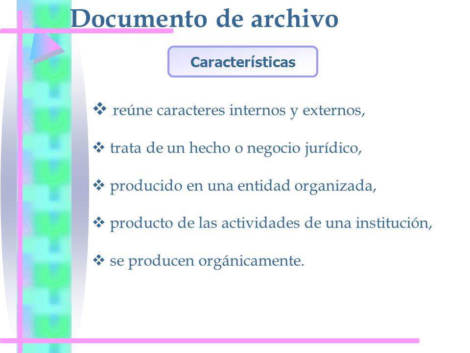 Documento de archivo reúne caracteres internos y externos, trata de un hecho o negocio jurídico, producido en una entidad organizada, producto de las