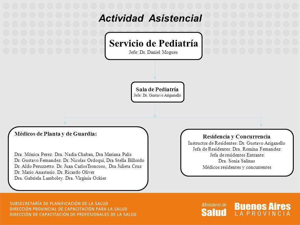 Actividad Asistencial Médicos de Planta y de Guardia: Dra. Mónica Perez. Dra. Nadia Chaban, Dra Mariana Palis Dr. Gustavo Fernandez. Dr. Nicolas Ordoq
