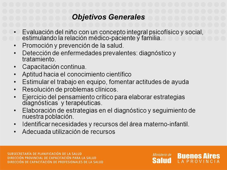 Objetivos Generales Evaluación del niño con un concepto integral psicofísico y social, estimulando la relación médico-paciente y familia. Promoción y