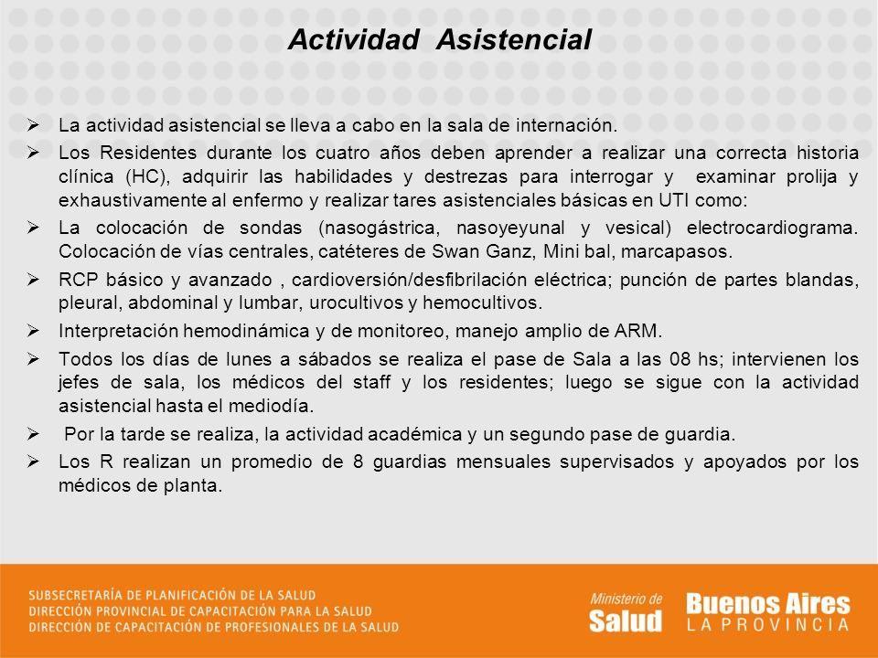 Actividad Académica La actividad docente se compone de clases dictadas por el instructor de resientes, médicos de otros servicios del hospital y los propios residentes.