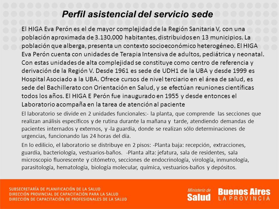 Perfil asistencial del servicio sede El HIGA Eva Perón es el de mayor complejidad de la Región Sanitaria V, con una población aproximada de 3.130.000