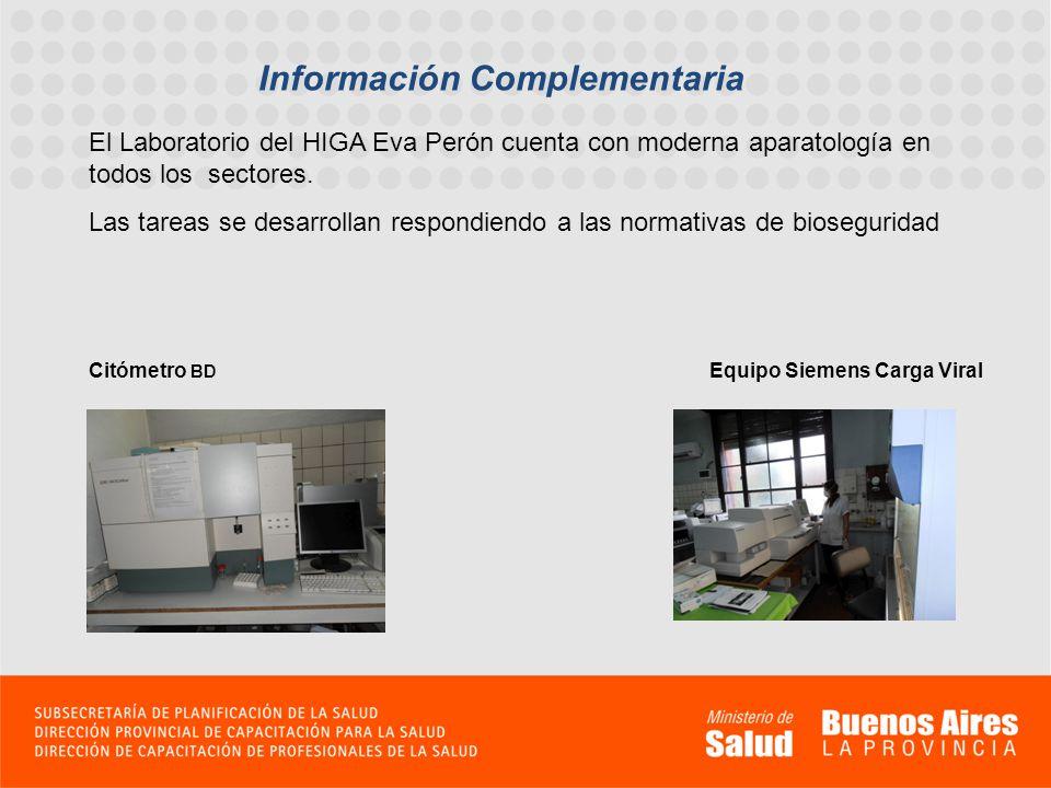 Información Complementaria El Laboratorio del HIGA Eva Perón cuenta con moderna aparatología en todos los sectores. Las tareas se desarrollan respondi