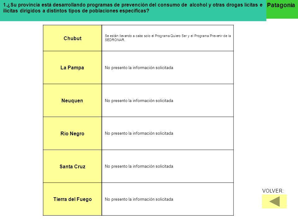 ¿Que organismos del Gobierno tienen responsabilidades específicas en el diseño y ejecución de las políticas sobre tratamientos? Patagonia Chubut La Pa