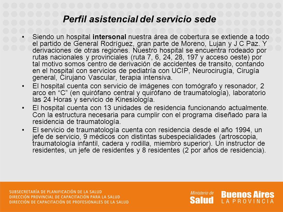 Perfil asistencial del servicio sede Siendo un hospital intersonal nuestra área de cobertura se extiende a todo el partido de General Rodríguez, gran parte de Moreno, Lujan y J C Paz.