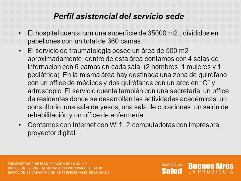 Perfil asistencial del servicio sede El hospital cuenta con una superficie de 35000 m2., divididos en pabellones con un total de 360 camas.