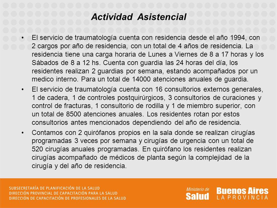El servicio de traumatología cuenta con residencia desde el año 1994, con 2 cargos por año de residencia, con un total de 4 años de residencia.