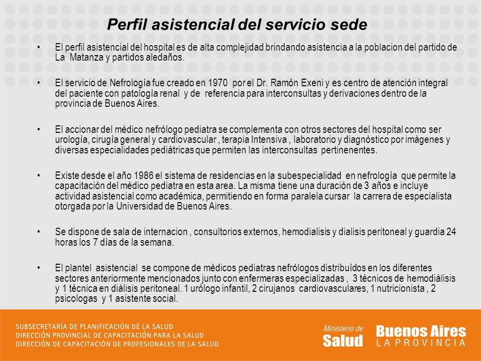 Perfil asistencial del servicio sede El perfil asistencial del hospital es de alta complejidad brindando asistencia a la poblacion del partido de La M
