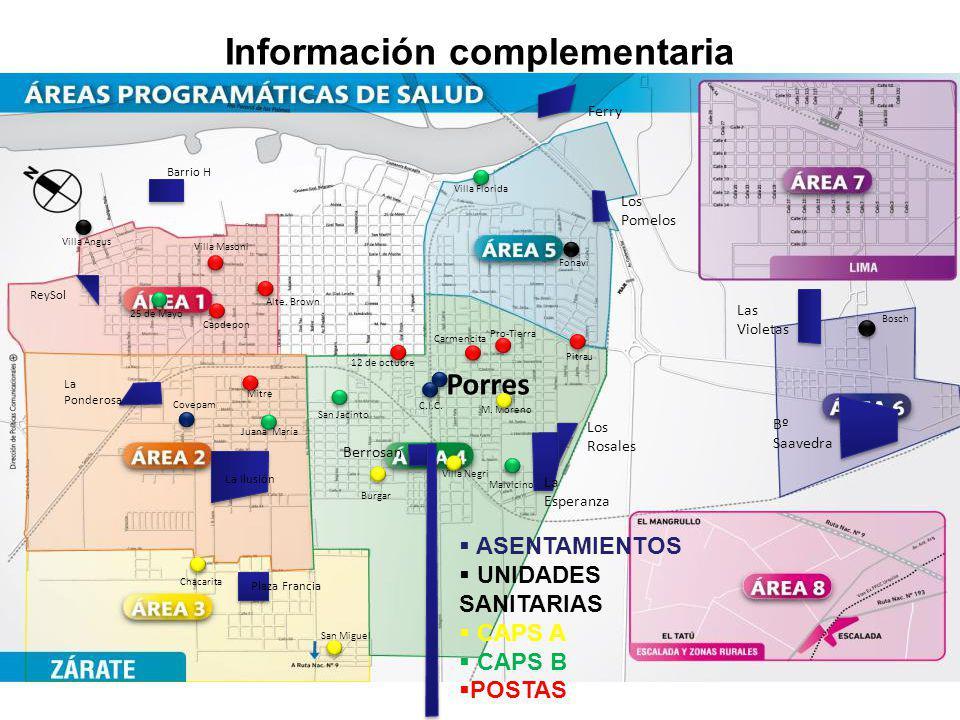 Información complementaria Los Pomelos Barrio H ReySol La Ponderosa Las Violetas Berrosan Los Rosales La Esperanza La Ilusión Bº Saavedra Ferry M. Mor