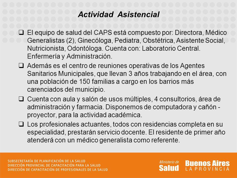 El equipo de salud del CAPS está compuesto por: Directora, Médico Generalistas (2), Ginecóloga, Pediatra, Obstétrica, Asistente Social, Nutricionista,