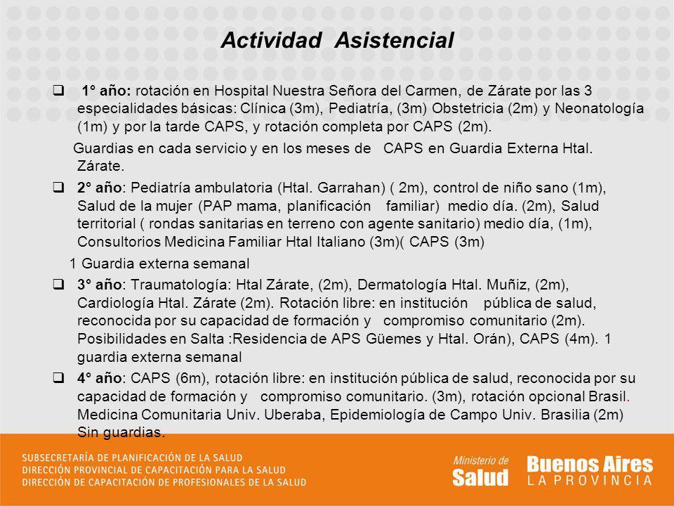 1° año: rotación en Hospital Nuestra Señora del Carmen, de Zárate por las 3 especialidades básicas: Clínica (3m), Pediatría, (3m) Obstetricia (2m) y N