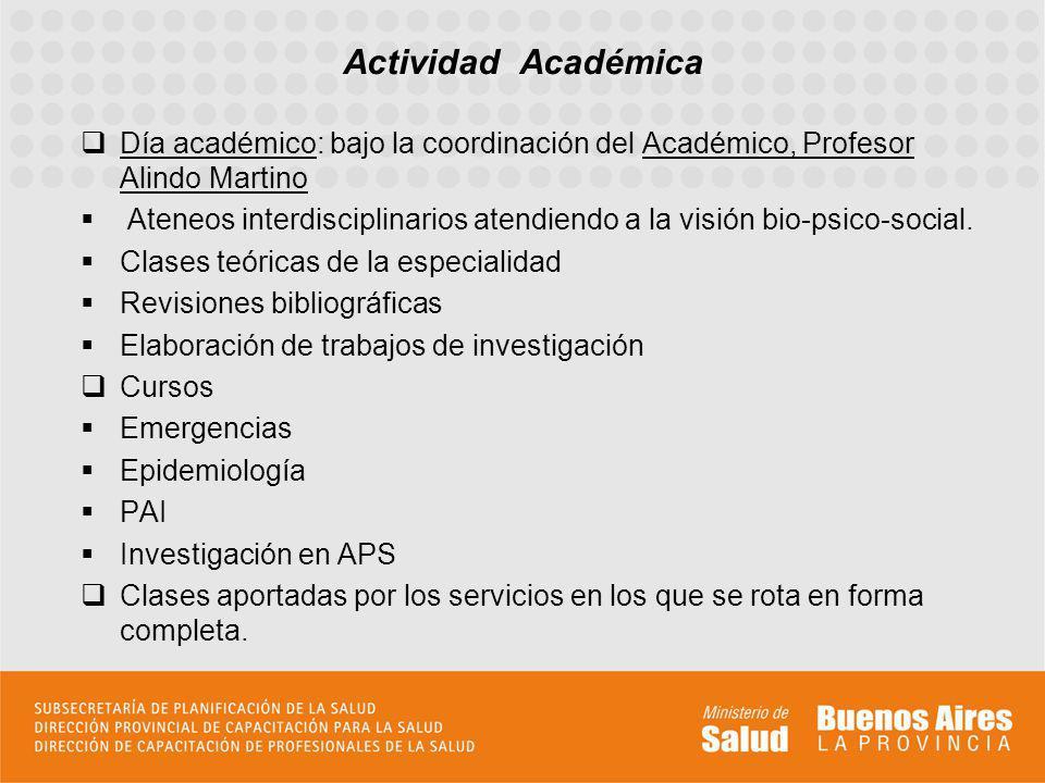 Día académico: bajo la coordinación del Académico, Profesor Alindo Martino Ateneos interdisciplinarios atendiendo a la visión bio-psico-social. Clases