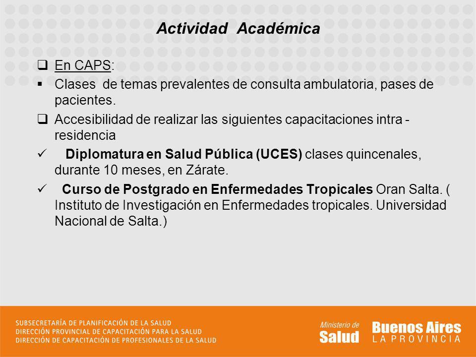 En CAPS: Clases de temas prevalentes de consulta ambulatoria, pases de pacientes. Accesibilidad de realizar las siguientes capacitaciones intra - resi