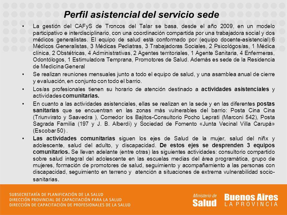 Perfil asistencial del servicio sede La gestión del CAFyS de Troncos del Talar se basa, desde el año 2009, en un modelo participativo e interdisciplin