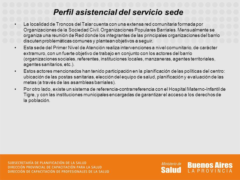Perfil asistencial del servicio sede La localidad de Troncos del Talar cuenta con una extensa red comunitaria formada por Organizaciones de la Socieda