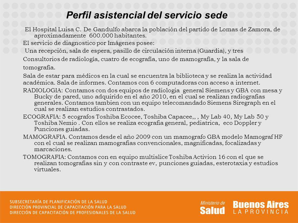 Perfil asistencial del servicio sede El Hospital Luisa C. De Gandulfo abarca la población del partido de Lomas de Zamora, de aproximadamente 600.000 h