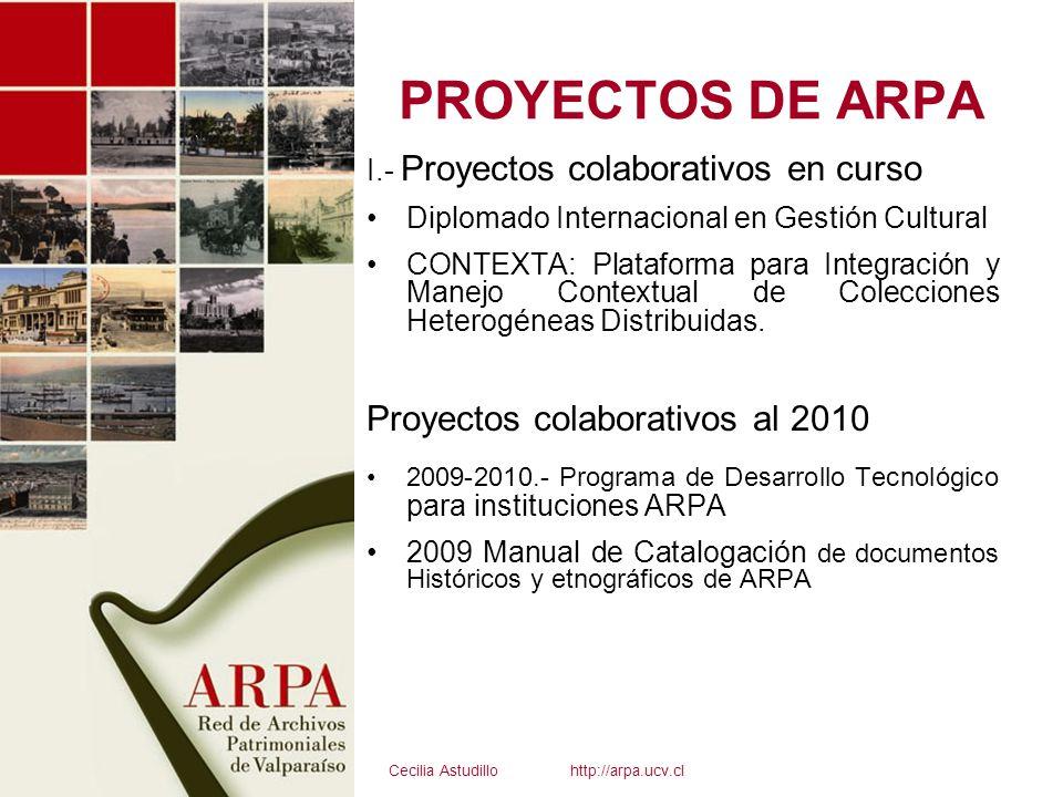 PROYECTOS DE ARPA I.- Proyectos colaborativos en curso Diplomado Internacional en Gestión Cultural CONTEXTA: Plataforma para Integración y Manejo Cont