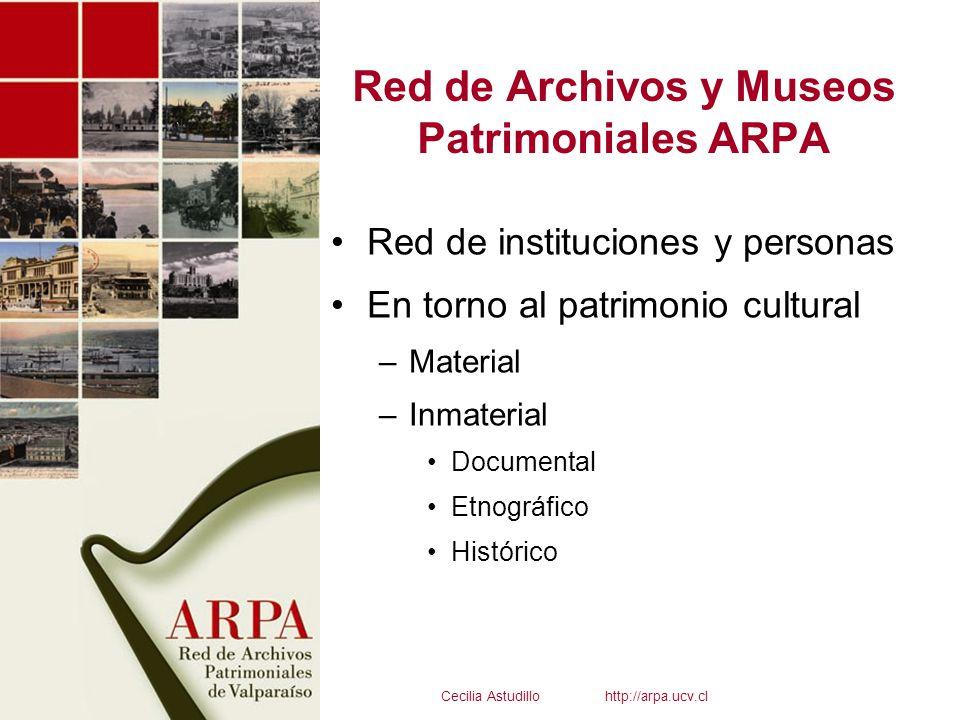 Red de Archivos y Museos Patrimoniales ARPA Red de instituciones y personas En torno al patrimonio cultural –Material –Inmaterial Documental Etnográfi