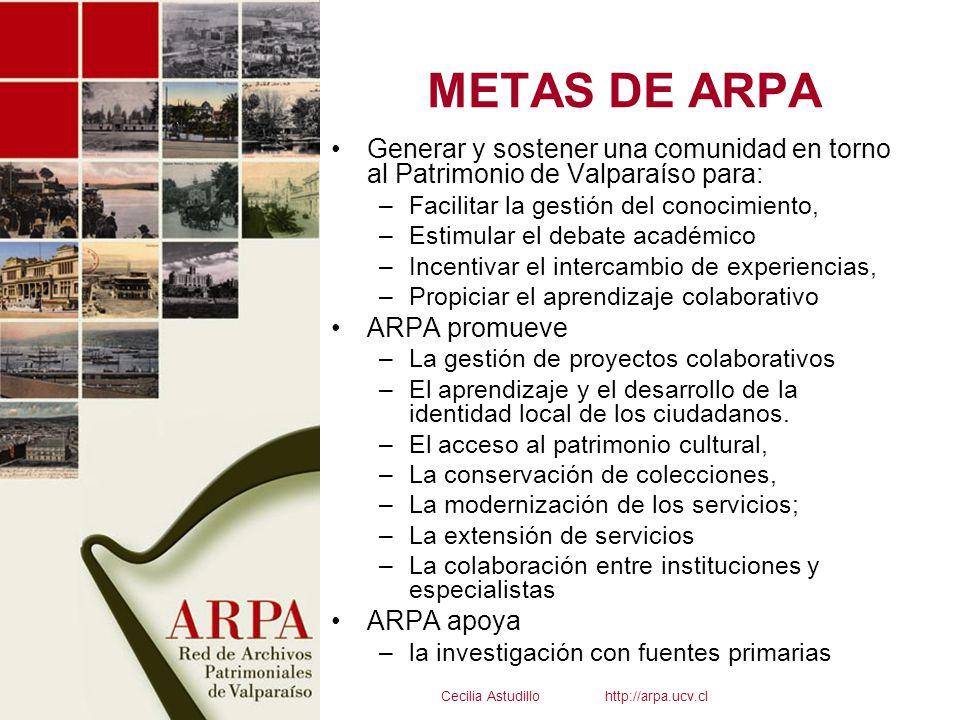 METAS DE ARPA Generar y sostener una comunidad en torno al Patrimonio de Valparaíso para: –Facilitar la gestión del conocimiento, –Estimular el debate