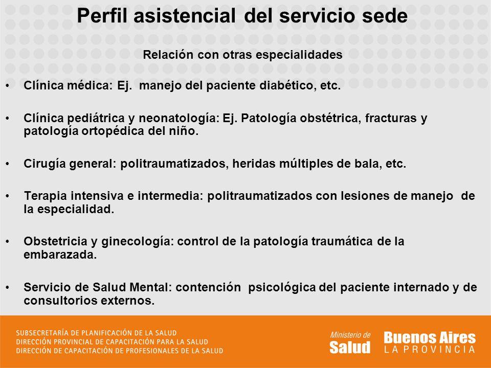Perfil asistencial del servicio sede Relación con otras especialidades Clínica médica: Ej.
