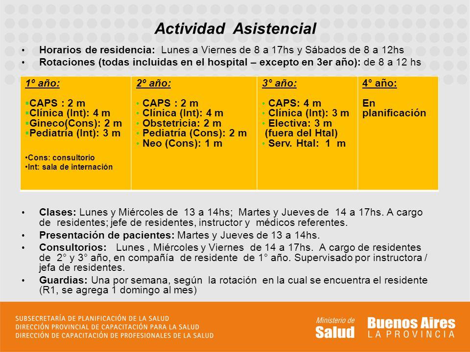 Horarios de residencia: Lunes a Viernes de 8 a 17hs y Sábados de 8 a 12hs Rotaciones (todas incluidas en el hospital – excepto en 3er año): de 8 a 12