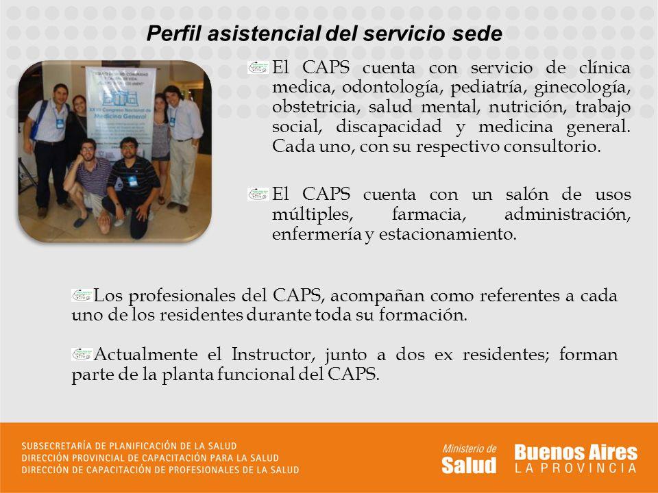 Perfil asistencial del servicio sede Los profesionales del CAPS, acompañan como referentes a cada uno de los residentes durante toda su formación. Act