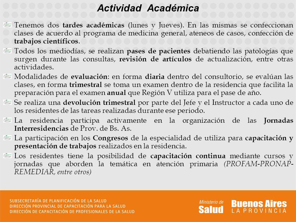 Actividad Académica Tenemos dos tardes académicas (lunes y Jueves). En las mismas se confeccionan clases de acuerdo al programa de medicina general, a