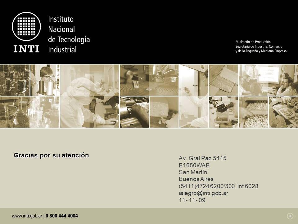 Av. Gral Paz 5445 B1650WAB San Martín Buenos Aires (5411)4724 6200/300. int 6028 ialegro@inti.gob.ar 11- 11- 09 Gracias por su atención