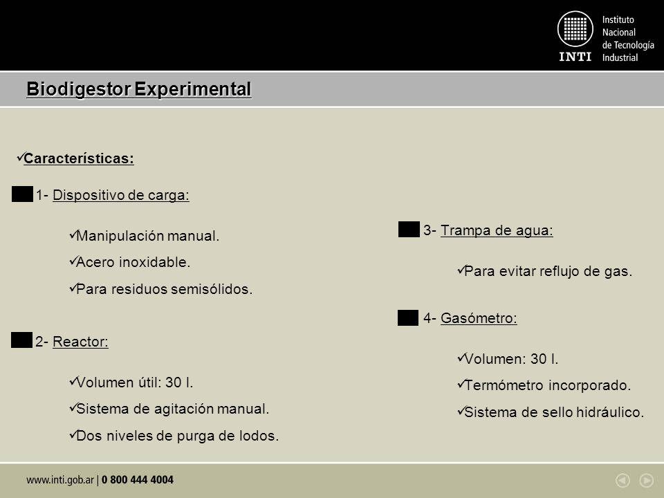 Parámetros y objetivos de funcionamiento Biodigestor Experimental 1- Carga volumétrica: 1,25 (kg SV/ m 3 día) 2- Alimentación: 8 % ST Objetivo: 2 (kg SV/ m 3 día) 5- Biogás: 0,07 – 0,095 (m 3 / kg Muestra) 3- pH: 7,2 – 7,3 4- Temperatura: 23 – 24 °C Objetivo: 35 – 40 °C Objetivo: Determinar cantidad y calidad.