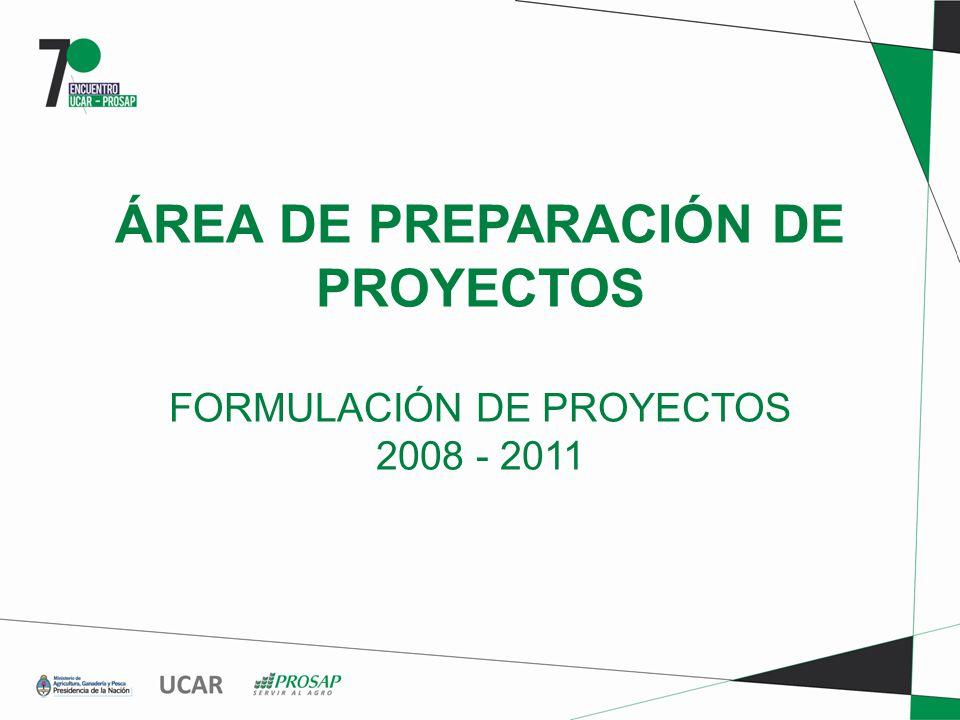 ÁREA DE PREPARACIÓN DE PROYECTOS FORMULACIÓN DE PROYECTOS 2008 - 2011