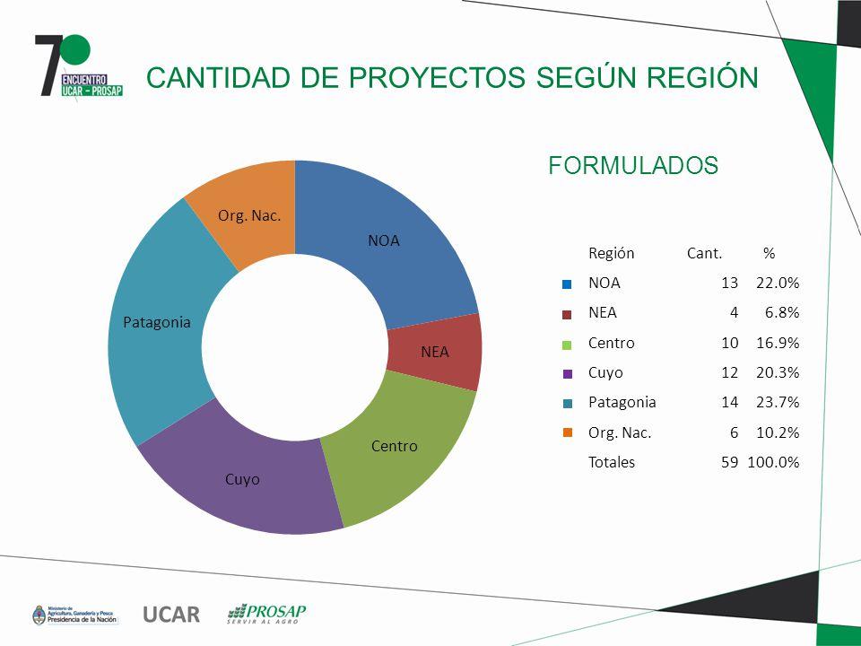 FORMULADOS CANTIDAD DE PROYECTOS SEGÚN REGIÓN RegiónCant.% NOA1322.0% NEA46.8% Centro1016.9% Cuyo1220.3% Patagonia1423.7% Org.