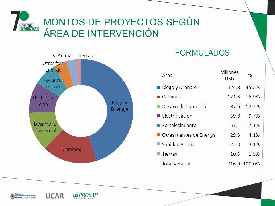 FORMULADOS MONTOS DE PROYECTOS SEGÚN ÁREA DE INTERVENCIÓN Área Millones USD % Riego y Drenaje324.845.3% Caminos121.316.9% Desarrollo Comercial87.612.2% Electrificación69.89.7% Fortalecimiento51.17.1% Otras fuentes de Energía29.34.1% Sanidad Animal22.33.1% Tierras10.61.5% Total general716.9100.0%