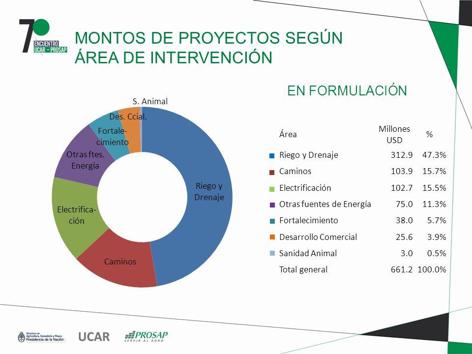 EN FORMULACIÓN MONTOS DE PROYECTOS SEGÚN ÁREA DE INTERVENCIÓN Área Millones USD % Riego y Drenaje312.947.3% Caminos103.915.7% Electrificación102.715.5% Otras fuentes de Energía75.011.3% Fortalecimiento38.05.7% Desarrollo Comercial25.63.9% Sanidad Animal3.00.5% Total general661.2100.0%