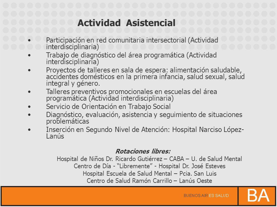 Participación en red comunitaria intersectorial (Actividad interdisciplinaria) Trabajo de diagnóstico del área programática (Actividad interdisciplina