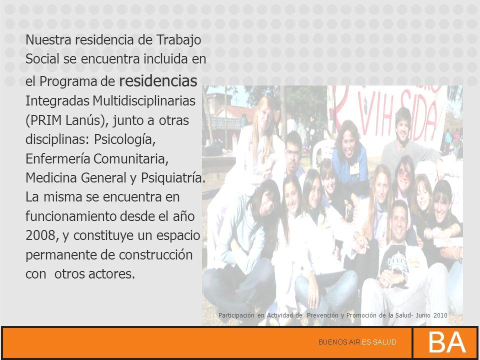 Poster presentado por la Residencia de Trabajo Social del PRIM Lanús en las 1º Jornadas Regionales de Trabajo Social y Salud -2010 Participación en espacios interresidencias, de formación e intercambio de experiencias - 2010