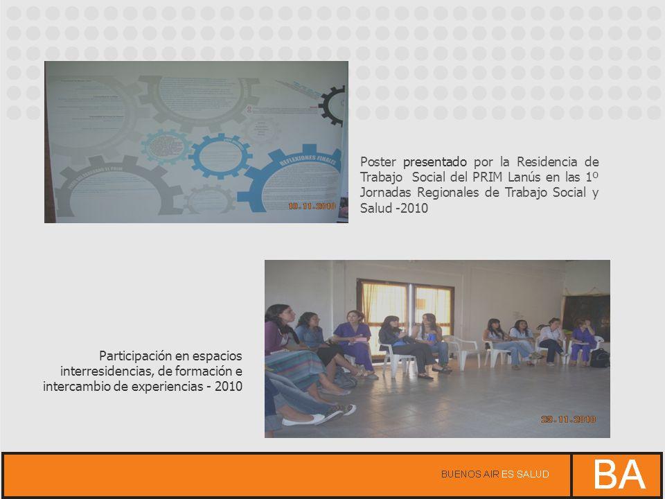 Poster presentado por la Residencia de Trabajo Social del PRIM Lanús en las 1º Jornadas Regionales de Trabajo Social y Salud -2010 Participación en es