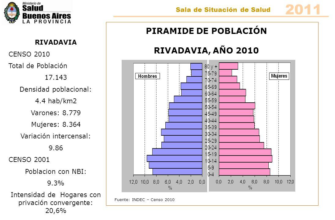Fuente: INDEC – Censo 2010 PIRAMIDE DE POBLACIÓN RIVADAVIA, AÑO 2010 RIVADAVIA CENSO 2010 Total de Población 17.143 Densidad poblacional: 4.4 hab/km2