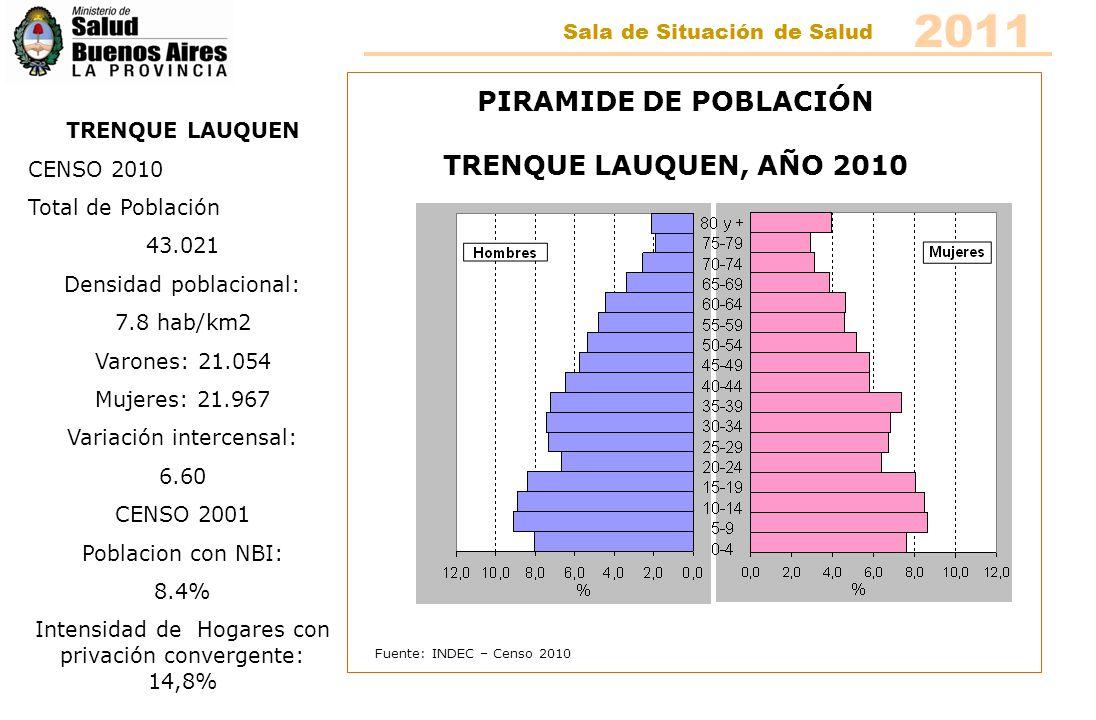 Fuente: INDEC – Censo 2010 PIRAMIDE DE POBLACIÓN TRENQUE LAUQUEN, AÑO 2010 TRENQUE LAUQUEN CENSO 2010 Total de Población 43.021 Densidad poblacional: