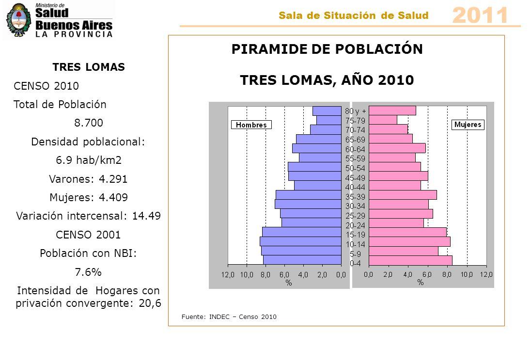Fuente: INDEC – Censo 2010 PIRAMIDE DE POBLACIÓN TRES LOMAS, AÑO 2010 TRES LOMAS CENSO 2010 Total de Población 8.700 Densidad poblacional: 6.9 hab/km2