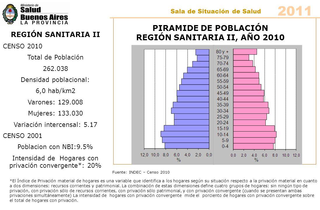 Fuente: INDEC – Censo 2010 PIRAMIDE DE POBLACIÓN REGIÓN SANITARIA II, AÑO 2010 REGIÓN SANITARIA II CENSO 2010 Total de Población 262.038 Densidad pobl