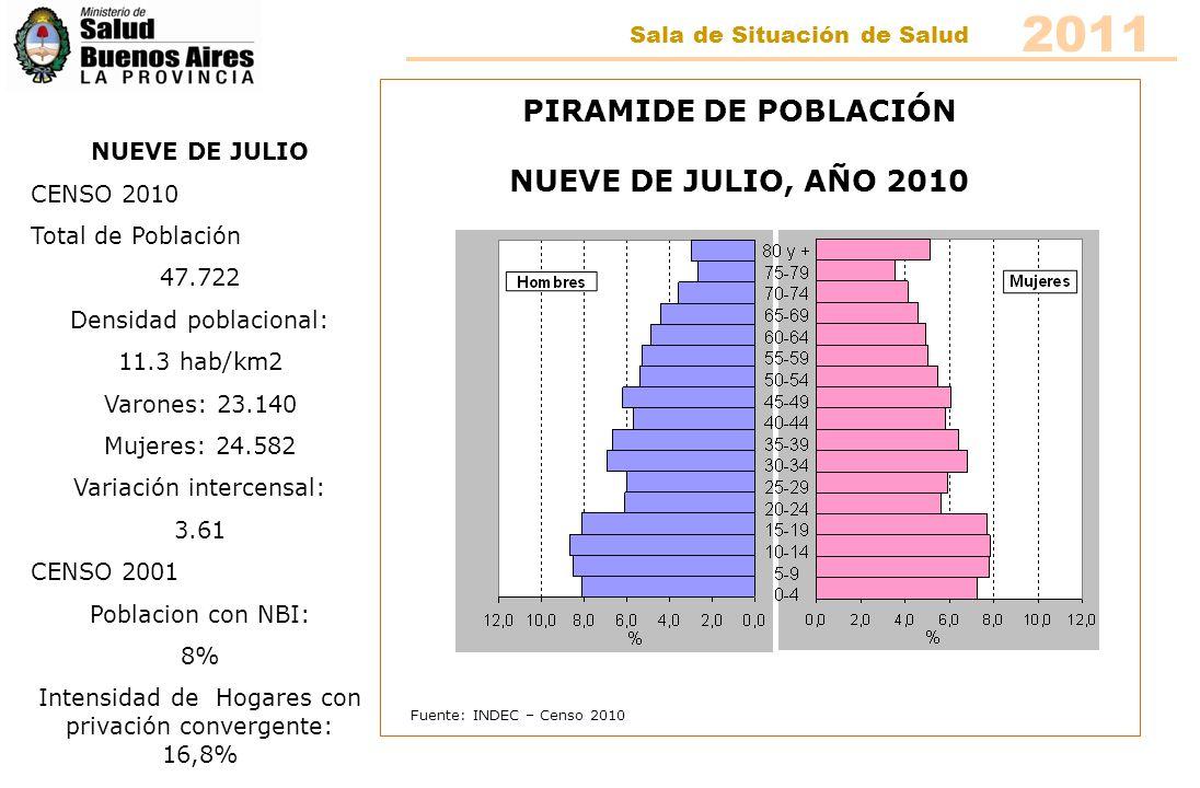 Fuente: INDEC – Censo 2010 PIRAMIDE DE POBLACIÓN NUEVE DE JULIO, AÑO 2010 NUEVE DE JULIO CENSO 2010 Total de Población 47.722 Densidad poblacional: 11