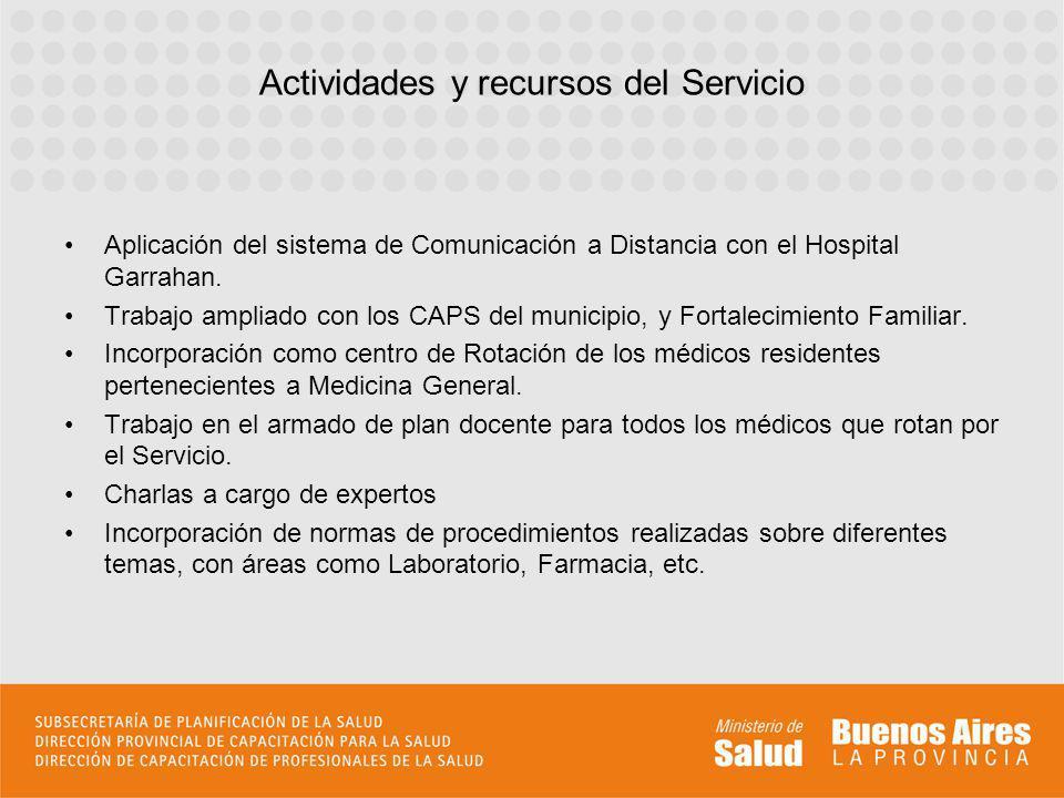 Actividades y recursos del Servicio Aplicación del sistema de Comunicación a Distancia con el Hospital Garrahan. Trabajo ampliado con los CAPS del mun