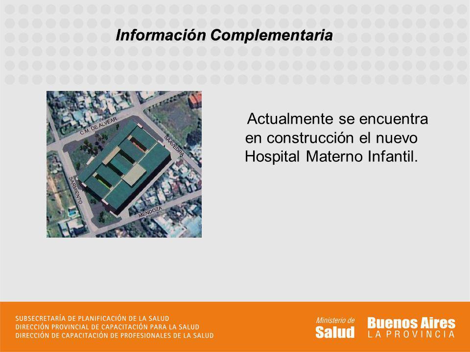 Información Complementaria Actualmente se encuentra en construcción el nuevo Hospital Materno Infantil. Información Complementaria