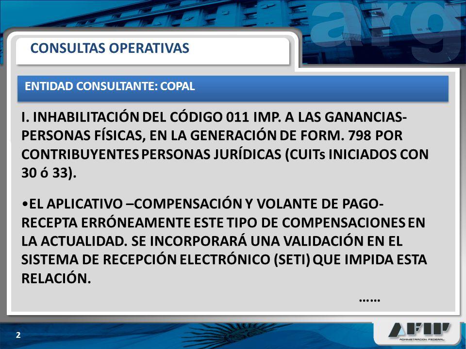 ENTIDAD CONSULTANTE: COPAL 3 CONSULTAS OPERATIVAS (CONT.) LA TRANSACCIÓN DE COMPENSACIONES HABILITADO EN EL SISTEMA CUENTAS TRIBUTARIAS YA TIENE INCORPORADO ESTE TIPO DE VALIDACIONES.
