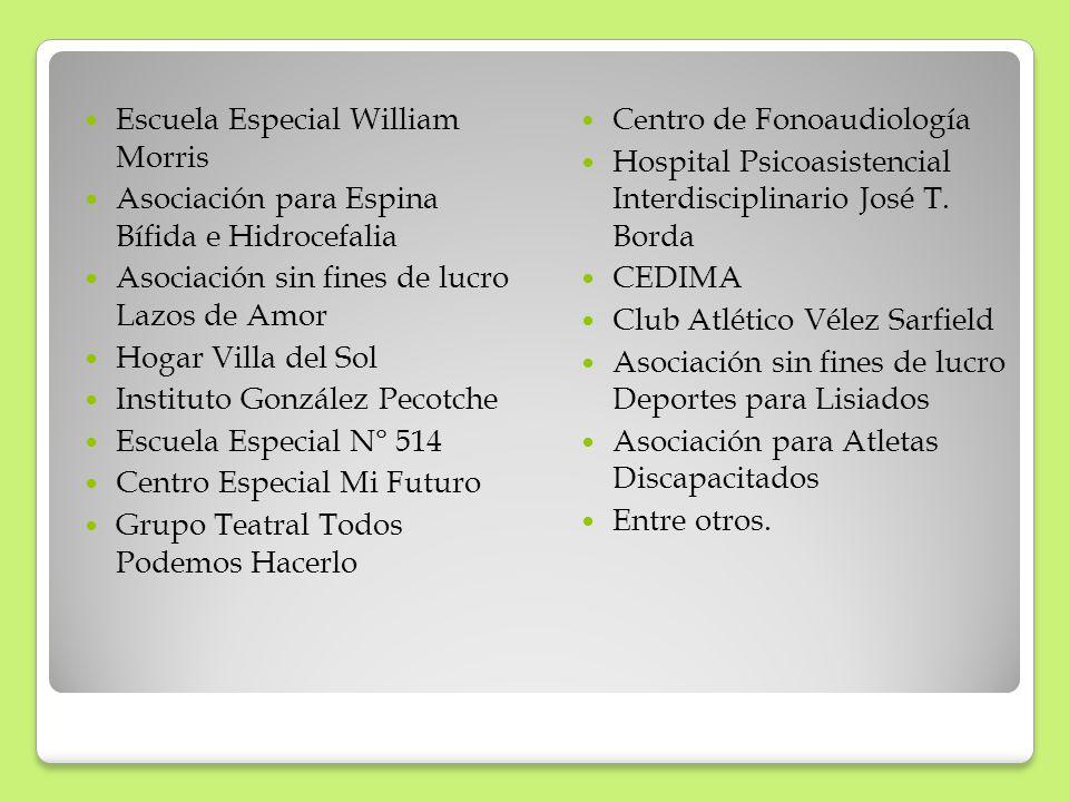 Escuela Especial William Morris Asociación para Espina Bífida e Hidrocefalia Asociación sin fines de lucro Lazos de Amor Hogar Villa del Sol Instituto