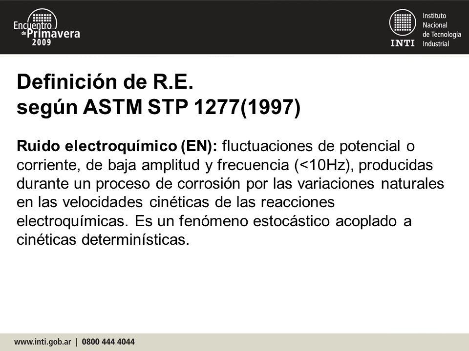 Definición de R.E. según ASTM STP 1277(1997) Ruido electroquímico (EN): fluctuaciones de potencial o corriente, de baja amplitud y frecuencia (<10Hz),