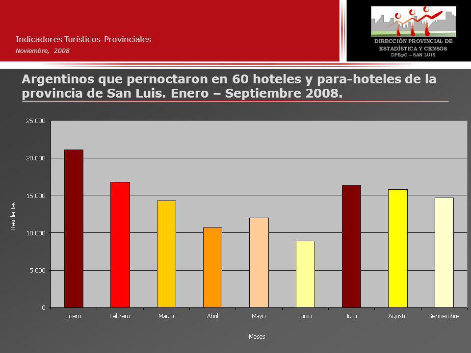 Indicadores Turísticos Provinciales Noviembre, 2008 Argentinos que pernoctaron en 60 hoteles y para-hoteles de la provincia de San Luis.