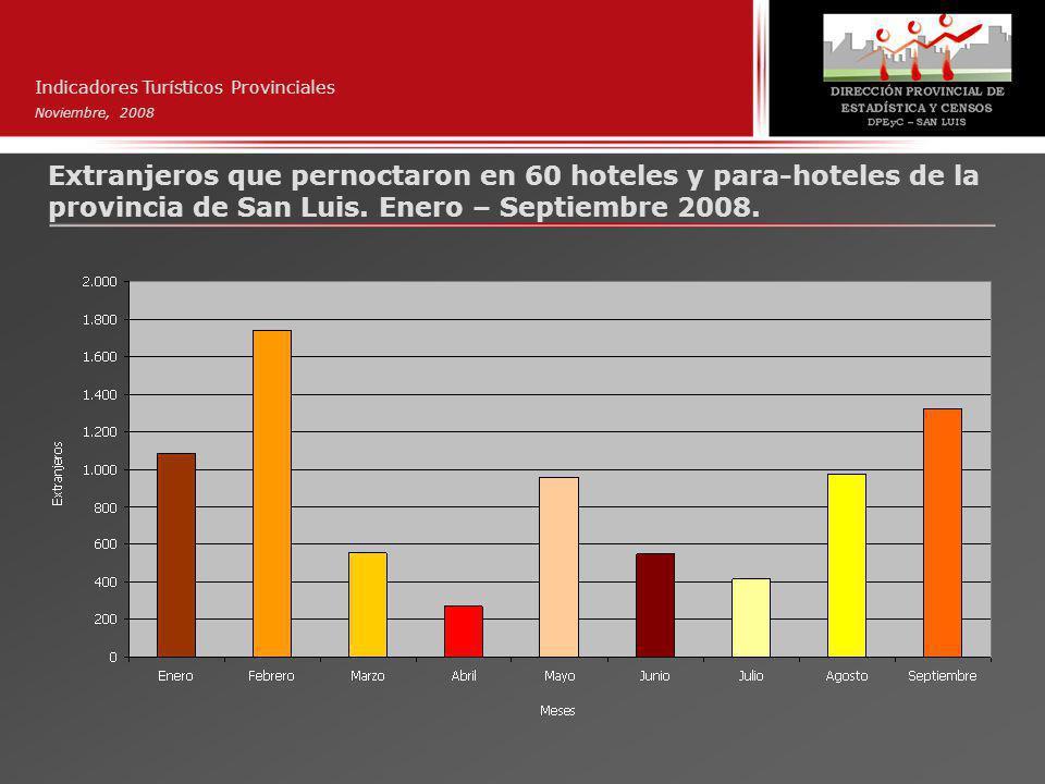 Indicadores Turísticos Provinciales Noviembre, 2008 Extranjeros que pernoctaron en 60 hoteles y para-hoteles de la provincia de San Luis.