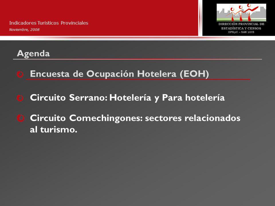 Agenda Indicadores Turísticos Provinciales Noviembre, 2008 Encuesta de Ocupación Hotelera (EOH) Circuito Serrano: Hotelería y Para hotelería Circuito Comechingones: sectores relacionados al turismo.