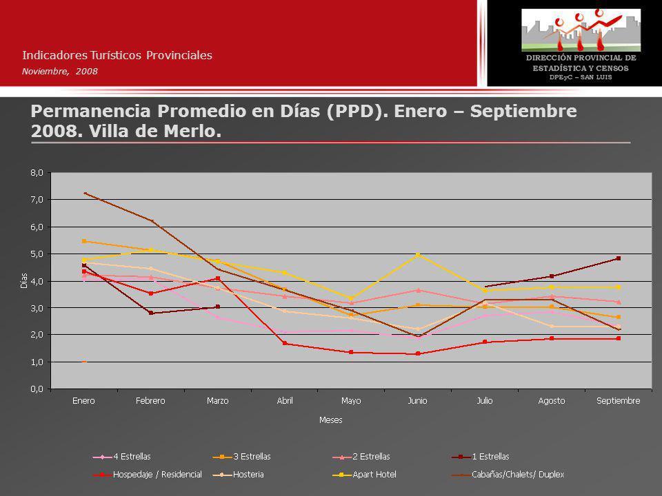 Indicadores Turísticos Provinciales Noviembre, 2008 Permanencia Promedio en Días (PPD).